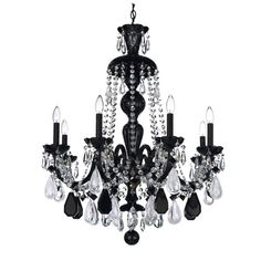 Hamilton Jet Black Eight-Light Jet Black Rock Crystal Chandelier