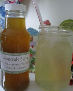"Homemade Ginger Syrup that can make not only traditional Gingerale, but can be made into a Ginger ""Tea"" to help with nausea. Would make a great gift for someone suffering from morning sickness, or Chemo treatments, or even the stomach flu!"