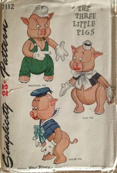 Dollhouse Miniature THE THREE LITTLE PIGS thin non-opening  Book