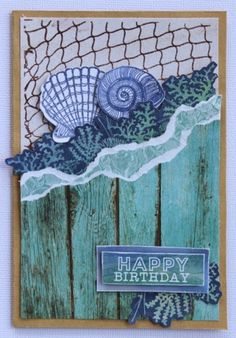 Kaisercraft Coastal Escape - Net stamp Card by Cathy Cafun Scrapbooking, Scrapbook Cards, Mix Media, Nautical Cards, Beach Cards, Some Cards, Shaker Cards, Stamp Card, Happy Birthday Cards