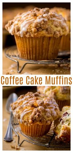Coffee Cake Muffins are moist, buttery, and topped with vanilla glaze! #coffeecakemuffins #muffins #coffeecake Cupcake Recipes, Baking Recipes, Cupcake Cakes, Snack Recipes, Dessert Recipes, Snacks, Muffin Recipies, Kitchen Recipes, Coffee Cake Muffins