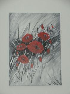 Explosion de coquelicots en rouge gris et noir N°1 : Peintures par brigitte-schutten