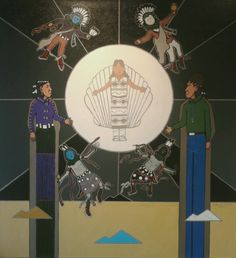 This painting depicts the transformation of White Shell Girl, as she steps into the white shell disk, to Tł'éhonaa'éí, The One Who Rules the Night, which today we call the Moon.