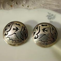 Artistic Mountain Scene on Sterling Pierced EARRINGS Marked MEXICO 925 with Bear Hallmark Hand Made Unique Ladies Gift Collectible Vintage by GrammiesCupboard on Etsy