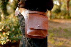 BEIGE Leather Fanny PACK // Mens Leather Belt Bag // by KURTIK
