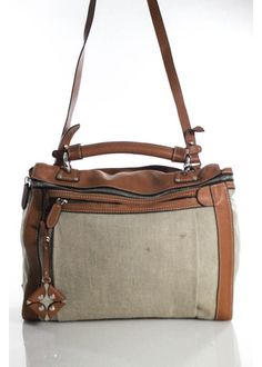FRATELLI ROSSETTI Tan Brown Leather Canvas Convertible Large Messenger Handbag  #FRATELLIROSSETTI #MessengerCrossBody