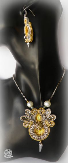 Soutache earrings and pendant in Yellow