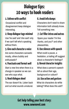 10 Dialogue Tips to Hook Readers 10 Dialogue Tips to Hook Readers Dialogue tips infographic Now Novel 10 Dialogue Tips to Hook Readers Dialogue tips infographic Now Novel Writing Promps, English Writing Skills, Book Writing Tips, Writing Characters, Writing Words, Fiction Writing, Writing Help, Dialogue Writing, Writing Outline