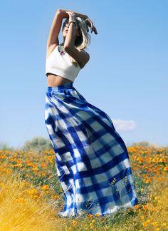 The New PEACE LOVE SHEA poppy fields gingham skirt blonde model flowers california SHEA MARIE