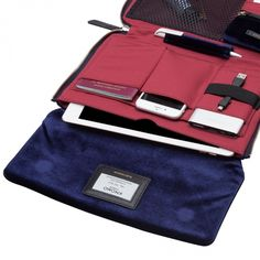 Elektronista 10'' Digital Velvet Clutch Bag in Midnight Blue | KNOMO | Completely unzip for perfect organisation, with a place for all of your devices and day-to-night essentials, Charge on the go effortlessly, with powerful 5000MAH battery and 5cm micro USB. Go hands free instantly, with sophisticated detachable shoulder strap.
