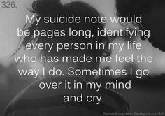 Suicide note. I think about it more than ever. The phrase keeps on replaying while a laugh at a joke to look like I don't hate the world.