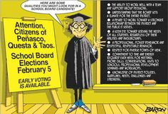 Taos County School Board Elections Feb 5th...what qualifications?
