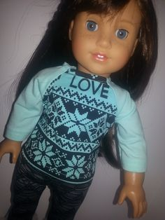 18 inch doll clothes, American girl doll clothes, aqua black love shirt with gray chevron print leggings, Ag doll clothes, trendy ag clothes by 101stitches on Etsy