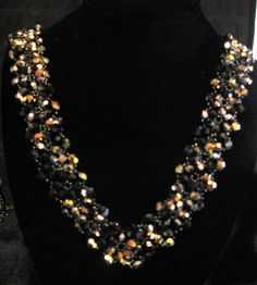 Jet Ab Black Bling Fire polishi crystal necklace by LynnParpard