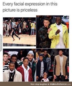 Lol i like the bottom right pic where he is bout to squeeze the little boys head haha Funny Shit, Nba Funny, Really Funny Memes, Stupid Funny Memes, Funny Relatable Memes, Funny Tweets, Funny Posts, Funny Cute, Hilarious