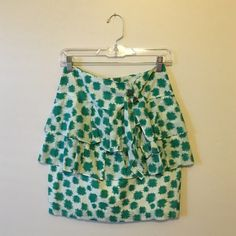 "Green print ruffle Anthro skirt Size 2 edme & esyllte brand from Anthropologie measures 20"" in length and 14"" in waist NO TRADES Anthropologie Skirts"