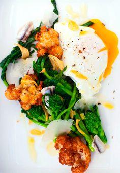 Warm Salad of Rapini, Cauliflower, Egg, White Anchovy