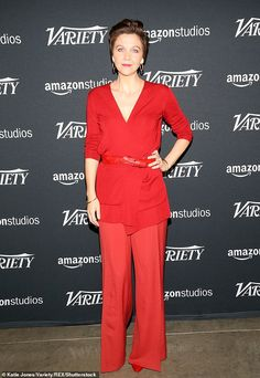 Seeing red: The Deuce's Maggie Gyllenhaal stood out in a head-to-toe red ensemble to discuss her career with Variety's Actors on Actors at Goya Studios in Los Angeles on Saturday Melissa Mccarthy Movies, Maggie Gyllenhaal, Just Jared Jr, John Krasinski, New Girlfriend, The Hollywood Reporter, Amy Adams, Strike A Pose, Head To Toe
