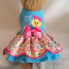 "ONE CUTE Chick Appliqued Blinged Double Ruffled Dog Dress Ready To Ship Now Size SMALL Girth 12 1/2"" - 13"""