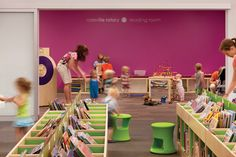 children's library design book cubbies. These cubbies are fun!
