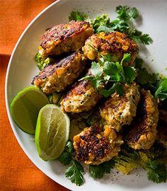 Chicken, corn & chilli koftas with smashed avocado & coriander | Karen Martini