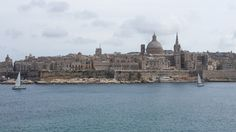 Postcard Malta - iconic view of Valletta, with the prominent dome of the Carmelitan Church, as seen from Sliema across the Marsamxett Harbour
