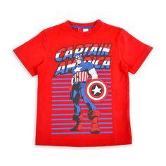 Franela EPK para niño roja con estampado de Capitan America al frente