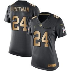 Nike Falcons #24 Devonta Freeman Black Women's Stitched NFL Limited Gold Salute to Service Jersey