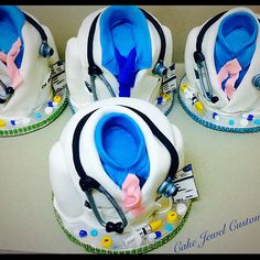 """Mini ( 5"""") Physician themed Cakes with fondant decorations. Chocolate, and Vanilla Cakes."""