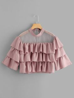 SHEIN offers Mock Neck Sheer Yoke Layered Crop Top & more to fit your fashionable needs. Indian Fashion Dresses, Girls Fashion Clothes, Teen Fashion Outfits, Fashion Hacks, Fashion Tips, Stylish Dresses For Girls, Stylish Dress Designs, Dresses Kids Girl, Crop Top Outfits