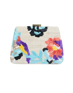 Floral and Parrot Straw Clutch | Serpui Marie | Halsbrook