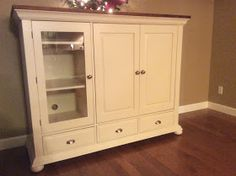 DIY Midwest Home Renovation: Refinishing Broyhill Fontana Entertainment  Center With Rustoleum Painteru0027s Touch Heirloom White