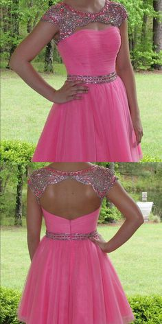 cd5293903e5 Cute A-line Hot Pink Beads Short Homecoming Dress with Open Back