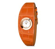 Faubourg Manchette Hermes rose gold watch, 19.5 mm diameter, white lacquered dial, quartz movement, long smooth alligator strap Color: red agate