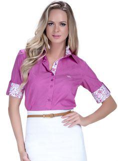 ded73c0997a4b camisa manga curta social pink principessa marie detalhe look Blusa Social  Feminina