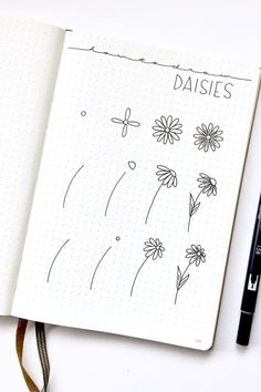 Bullet journal doodles - 17 Amazing Step By Step Flower Doodles For Bujo Addicts – Bullet journal doodles Bullet Journal Writing, Bullet Journal Notebook, Bullet Journal Aesthetic, Bullet Journal Inspo, Art Journal Pages, Doodle Art Journals, Bullet Journal Ideas Pages, Journal Prompts, Bullet Journal Decoration