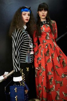 Dolce&Gabbana Fall-Winter 2016-17 #DGFabulousFantasy Women's Fashion Show. Backstage Models are wearing Sailor Stripes, White Shirt, a Bright Red and a Silk Bow with Chrystals. More insights on @dolcegabbana and #dgfw17. Also follow @voguerunway and #MFW.