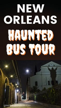"""Come see America's most haunted city by dark. An easy & fun way to do that is with the Haunted City Cemetery Bus Tour in New Orleans. This is a 90 minute tour led by a professional local tour guide who will tell you about New Orleans Voodoo history (like the famous Voodoo Queen, Marie Laveau). You'll visit two of New Orleans' famous cemeteries. And you'll stop by the Coven House from """"American Horror Show."""" Find out more details including how to save money with a coupon."""