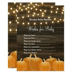 Fall Pumpkins & Lights Wishes for Baby Shower Game Card - baby gifts child new born gift idea diy cyo special unique design