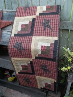 Log Cabin and Stars Table Runner by applevalleyprimitive on Etsy, $68.00
