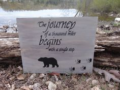 Excited to share the latest addition to my #etsy shop: Wood Sign The Journey of a Thousand Miles...Rustic, Cabin Bear, Paw Prints, Wall Decor, Sayings, Signs, Grizzly, Outdoors, Nature, Gray https://etsy.me/2HAWqa1
