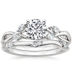 My idea of an engagement and wedding band White Gold Willow Diamond Ring from Brilliant Earth Wedding Rings Vintage, Diamond Wedding Rings, Wedding Jewelry, Wedding Bands, Diamond Rings, Ruby Rings, Solitaire Diamond, Aquamarine Wedding, Emerald Rings