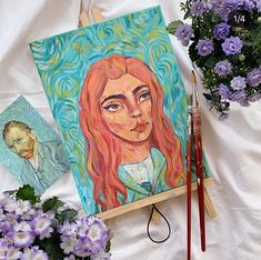 it's been suggested to me that i do a self-portrait so i decided to paint my take on gogh's iconic portrait! this was so fun tbh🌻 if you… Kanvas Art, Pastel Art, Vincent Van Gogh, Art Inspo, Art Reference, Watercolor Art, Art Drawings, Artsy, Fine Art