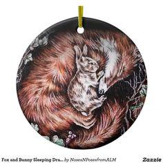 Fox and Bunny Sleeping Drawing of Animal Art Ceramic Ornament