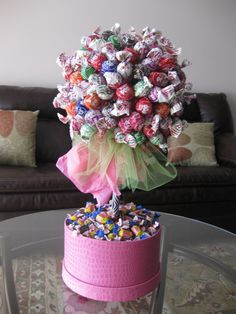 Items similar to Tootsie Pop and Blow Pop Candy Topiary (as donated to the SNAP Autism Event ) on Etsy Cute Candy, Best Candy, Creative Gifts, Creative Things, Creative Ideas, Diy Ideas, Party Ideas, Candy Topiary, Edible Bouquets
