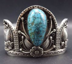 EXCEPTIONAL Vintage NAVAJO Sterling Silver & Morenci TURQUOISE Cuff BRACELET