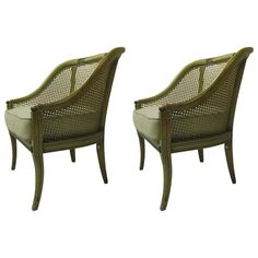 Pair of Painted Bergeres with Caned Backs | From a unique collection of antique and modern bergere chairs at https://www.1stdibs.com/furniture/seating/bergere-chairs/
