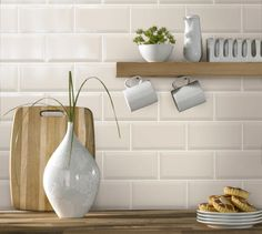 Subway tile Splashback with wooden benchtop