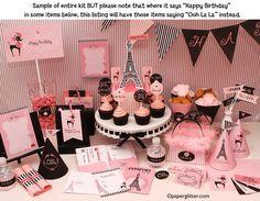 Paris Ooh La La Party Invitation and Kit, Printable Supplies and NON-Birthday Girl Theme - Printable Party Kit PDF Complete Set 0035. $10.00, via Etsy.