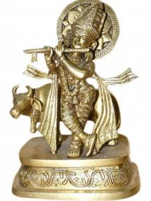Krishna Brass Statue Hindu God Playing Flute Collectible Figurines #Statue #Krishan Statue #mogulinterior
